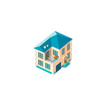 Isometric facade beige house