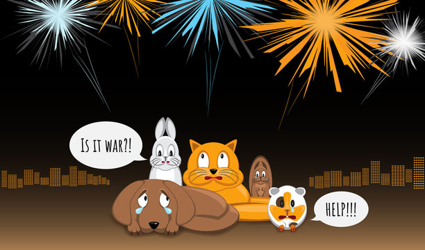 Animals afraid of loud bangs and whistles. Fireworks make stress during yearend celebrations. Dog, bunny, cat, squirrel and cavy sitting in stress. City light and fireworks on background. Vector.