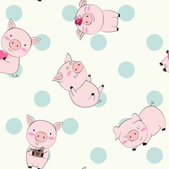 hand drawn vector seamless pattern with pigs.