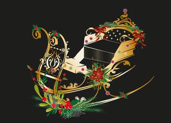 goldener Pferdeschlitten weihnachtlich geschmückt auf schwarzem Grund