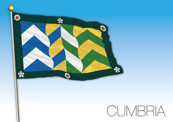 Cumbria county flag, United Kingdom, vector illustration