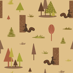 Geometric squirrel tree forest pattern. Seamless patern. Backgrounds for fabric or card.