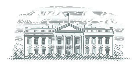 White House facade engraving style illustration. Vector. Building, sky and shadow on building in separate layers accordingly.