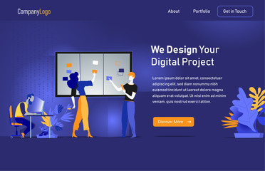 Digital Starttup Landing Page Illustration