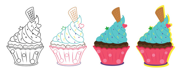Cupcake isolated illustration. Graphic element for design card or other creative illustration.