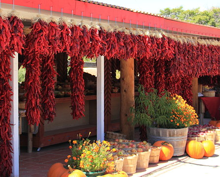 A line of red dried bunches of chilies hangs in front of a store in New Mexico