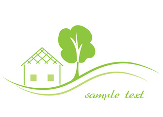 Home and tree icon, business logo