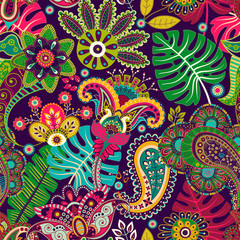 Foto op Aluminium Botanisch Vector seamless pattern. Indian floral ornament. Colorful decorative wallpaper. Paisley and plants. Vector illustration for web, textile, fabric, cover, print, invitation