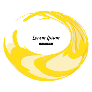 Round Yellow Watercolor Circle or Aquarelle Round Stain Isolated