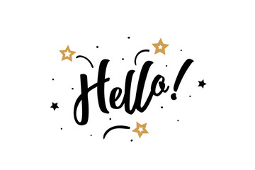 Hello. Beautiful greeting card poster, calligraphy black text word golden star fireworks. Hand drawn, design elements. Handwritten modern brush lettering, white background isolated vector