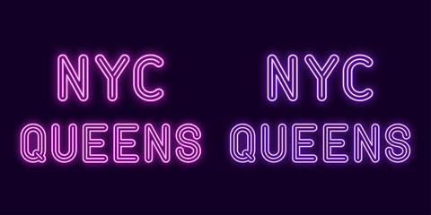 Neon inscription of New York city, Queens borough