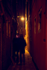 Personen Schatten Gasse Nacht