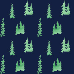 Winter seamless pattern with deer in forest