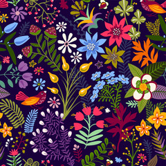 Foto op Aluminium Botanisch Vector seamless floral pattern. Colorful wallpaper witn flowers, animal,birds. Hand drawn vector illustration for web, wrapping paper, textile, fabric, phone cover