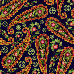 Foto op Aluminium Botanisch Colorful Paisley pattern for textile, cover, wrapping paper, web. Ethnic vector wallpaper with decorative elements. Indian decorative backdrop
