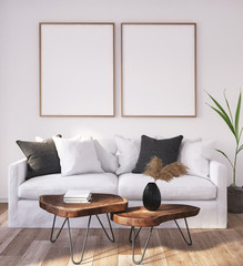 Mock up poster frame in home interior background, Scandinavian Bohemian style living room, 3D render