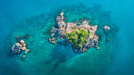 Stores à enrouleur Ile Tropical island with sea and palm taken from drone. Seychelles aerial photo. St Pierre Island