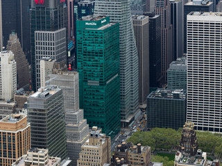 Aerial view of skyscrapers in New York City, New York State, USA
