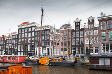 Canal coast view, Amsterdam, Netherlands