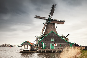Old wooden windmill in Netherlands