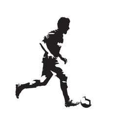 Soccer player running with ball, isolated vector silhouette. Ink drawing of footballer, side view