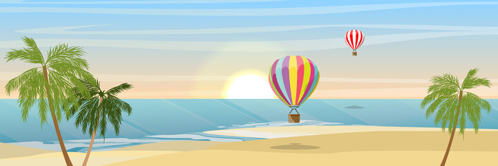 Island in the ocean, a sandy beach and coconut trees. Two flying balloons. Waves, sea, sea foam. Summer seaside vacation and travel. Vector landscape.