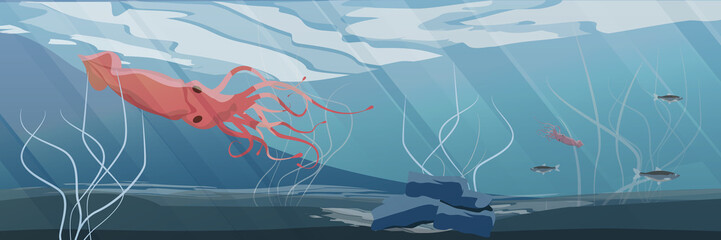 Northern underwater landscape. Large red squid and a flock of herring fish. Vector illustration, a scene from marine life.