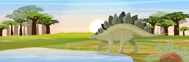 Wall Murals Khaki Stegosaurus near the lake. Prehistoric animals and plants. Vector landscape of the Mesozoic or Jurassic period.