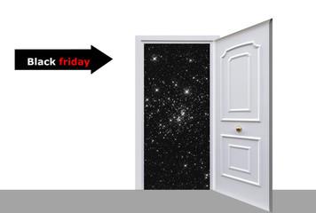 Black Friday, puerta, noche, estrellas, fondo blanco.