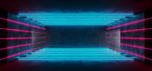 Neon Glowing Sci Fi Modern Futuristic Empty Dark Grunge Concrete With Space For Text And Glowing Purple And Blue Neon Lines Abstract Background 3D Rendering