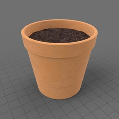 Terracotta pot filled with soil
