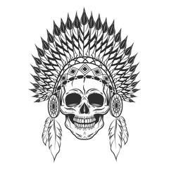 Skull in indian headwear with feather. Vector illustration in monochrome style