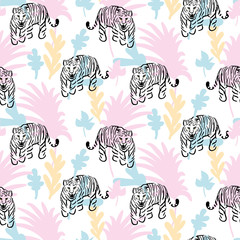 Seamless pattern with roaring tiger in jungle abstract style. Pastel colors and sketched wild animal vector repeat background for apparel print.