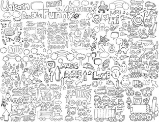 Poster Cartoon draw Doodle Sketch Vector Illustration Art Set