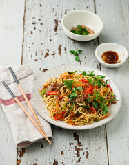 Chinese pasta with beef.