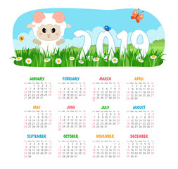 Calendar 2019 year with sheep