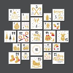 Christmas advent calendar. Hand drawn elements and numbers. Winter holidays calendar cards set design, Vector illustration