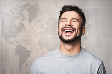 Portrait of a happy Laughing young man
