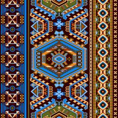 Foto op Aluminium Botanisch Folk ornamental seamless pattern. Geometric ethnic wallpaper, colorful backdrop. Abstract mexican geometric pattern