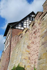 """Building called """"Gadem"""" and the Western fortified wall of the Wartburg castle near Eisenach"""
