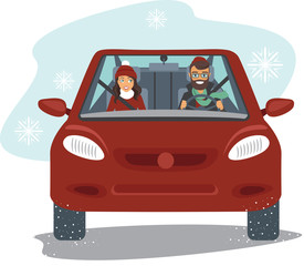 Couple riding car in winter