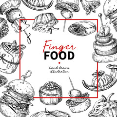 Finger food vector frame drawing. Catering service frame templat