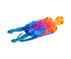 Abstract Luge sport winter sports from splash of watercolors
