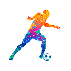 Abstract soccer player running with the ball from splash of watercolors