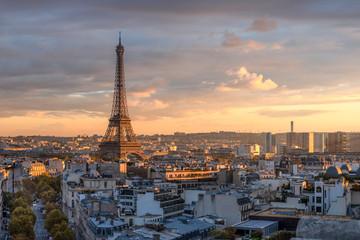 Fotomurales - Skyline von Paris mit Eiffelturm, Frankreich