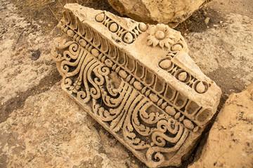 Carved decors of ancient Heliopolis. Baalbek, Bekaa Valley, Lebanon.