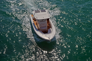 Overhead view of an open motorboat on the Florida Intra-coastal