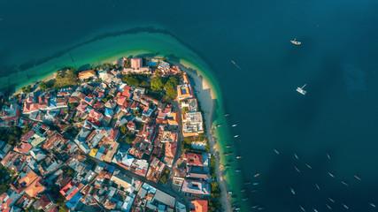 aerial view of the stone town in Zanzibar