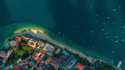 aerial view of the stone town in Zanzibar