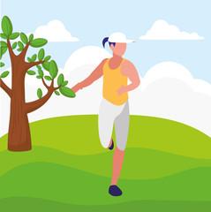 Fitness girl running design